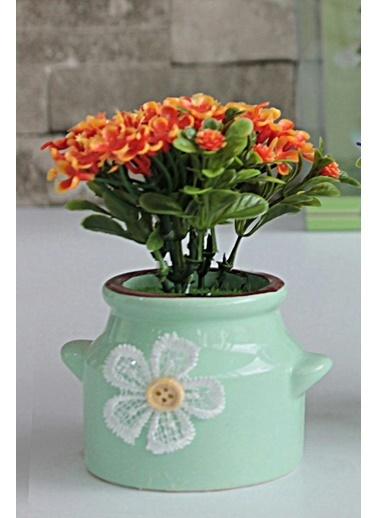 Kitchen Love Dekoratif Pors.Saksıda Kokulu Yapay Çiçek Aranjman Oranj
